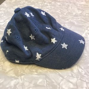 Gymboree blue denim billed ball hat cap w/ stars.